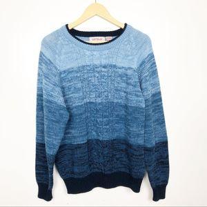 VINTAGE   Blue Ombre Striped Grandpa Sweater LG